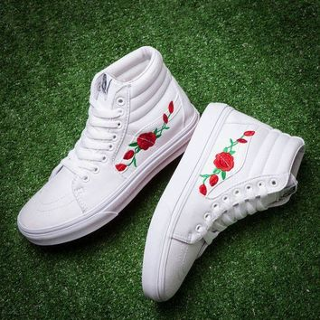 Vans & AMAC Fashion Casual High Tops Customs Rose Embroidered casual shoes G