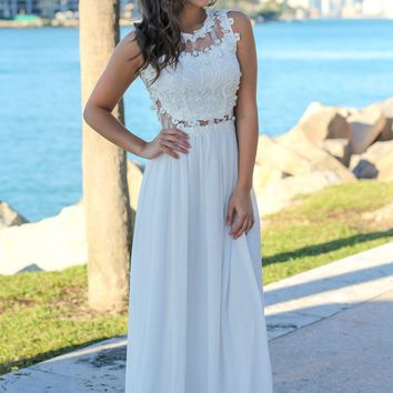 Ivory Lace Top Maxi Dress