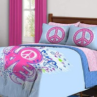Love Peace Sign Reversible Girls Kids Full Comforter Bed In A Bag Set