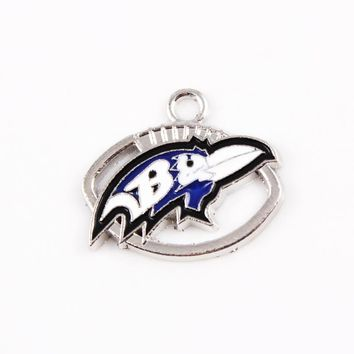 20pcs/lot Baltimore Ravens Charm Team Hanging Dangle Charms Sports Charms Floating Charms DIY Bracelets & Bangles Jewelry