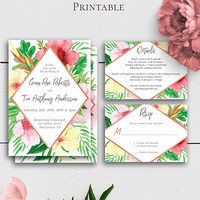Tropical Flowers Wedding Invitation Set, Exotic Personalized Set, Palm Leaf Invitation Template, Details Card, RSVP Card, Printable Invite