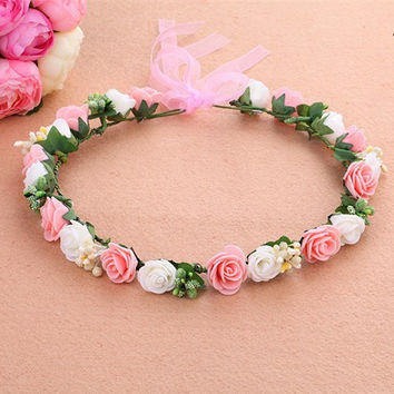 Mori Girl Series wedding bridal girls Hair Accessories wreath flower floral crown for women head rose tiara Garland hh5005