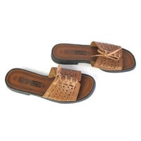 90s Brown Leather Slides Slip On Sandals Leather Mules Lace Up Sandals Perforated Cut Out Leather Shoes Hippie Boho Grunge Festival (7.5)