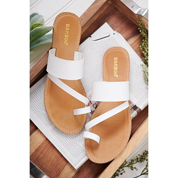 Marina Cross Strap Sandals (White)