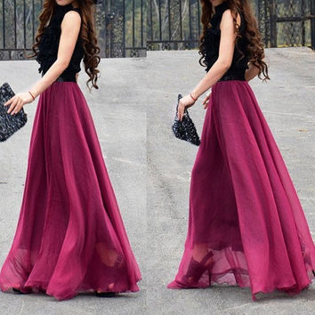 women's wine red silk Chiffon 8 meters of skirt by luckystore829