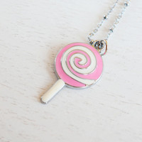 Cute Pink Lollipop Necklace,Sugar Pink Lollipop Jewelry,Miniature Charm,Candy Necklace,Lollipop Candy Pendant,Food Necklace,Sweet and Simple