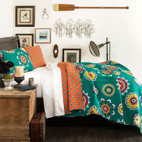 The Matilda Boho Bohemian Moroccan Navy Blue 7 PC Comforter Bedding Set