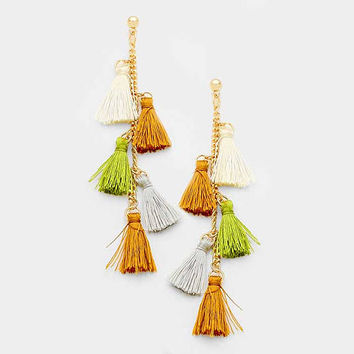 Neutral Multi-Color Ombre Hang Down Thread Tassel Earrings