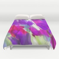 Meadow Flowers Abstract 2 Duvet Cover by Jen Warmuth Art And Design