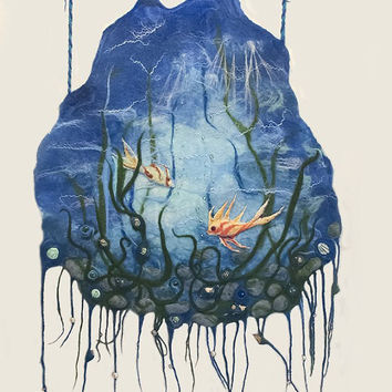 Wall Hanging Wood Felt  Blue Panel Life of Sea Underwater Landscape With Goldfish and Seashells