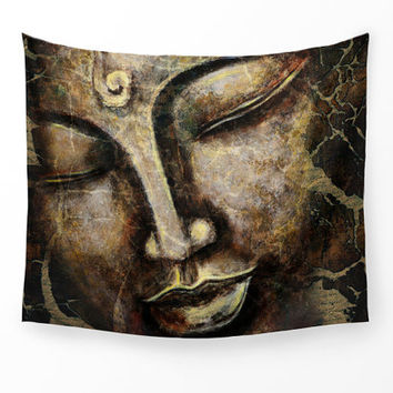 WALL TAPESTRY, Buddha face painting wall hanging zen home decor, large wall art, brown Buddha tapestry, brown painted wall Tapestry