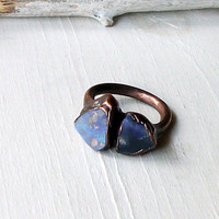 Copper Opal Ring Lightning Ridge Stone October Birthstone Natural Raw Gemstone Artisan
