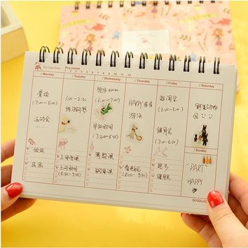 2017 Weekly agenda calendar style flower notebook Coil spiral planner diary book stationery Material escolar Office supply 01670