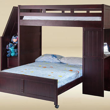 Lewis Twin Over Full Stairway Loft Bed