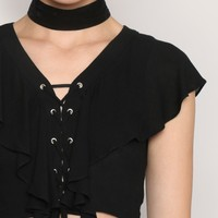 New Flames Crop Top - Black - Tops - Clothes at Gypsy Warrior