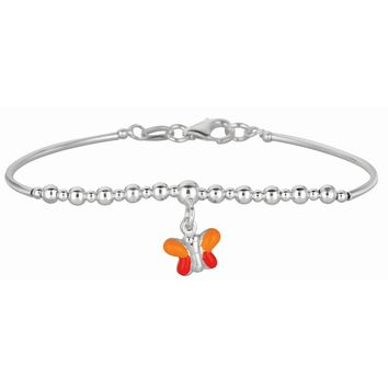 Silver Rhodium Finish Shiny Round Curve Bar+Diamond Cut Bead Children Bracelet with Pear Shape Clasp+Orange Butterfly Charm