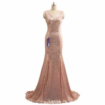 Real Photos 2016 New Long Mermaid Evening Dress With Straps Cheap Gold Sequin Evening Gowns Robe De Soiree Evening Party Gown