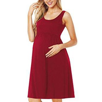 CareGabi Maternity Tank Dress Womens Sleeveless Stripe Knee Length Tank Dress for Baby Shower