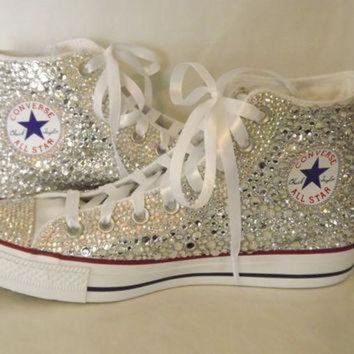 ONETOW CUSTOM Bling Rhinestone Converse Chuck Talor High Top Sneakers