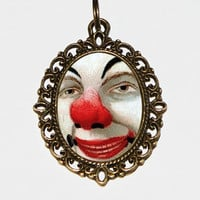Clown Face Necklace Oval Pendant