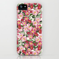 Wild Roses - Seamless Pattern iPhone & iPod Case by Paula Belle Flores