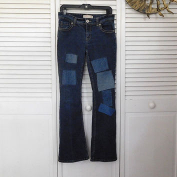 Hip Hugger Low Rise Jeans Denim Patches Front n Back Size 11 Jeans Flair Jeans Hippie Clothes Boho Style American Hippie Cowgirl Glam