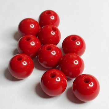 Red Gum Ball Acrylic Bead 12mm