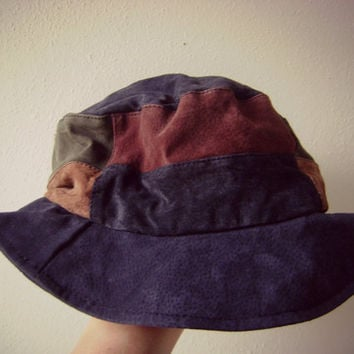 90s suede patchwork bucket hat vintage grunge hippie leather cap size s/m small medium boho casual 1990s accessories blue tan green maroon