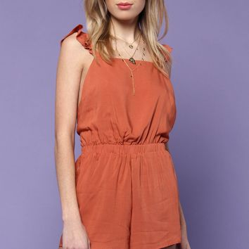 Lucca Khloe Wing Back Ruffle Romper - Coral
