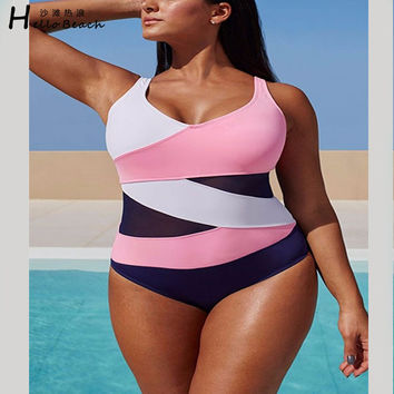 HELLO BEACH 5XL Plus Size Swimwear One Piece Swimsuit Women Bathing Suit Beachwear Padded Monokini Large Size Swim Wear Bodysuit