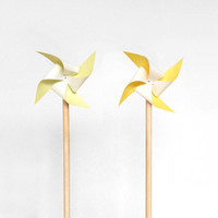 Yellow Pinwheel Cake Topper Birthday - 20cm tall yellow pinwheel cake toppers, set of 2