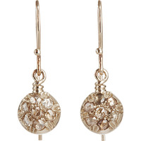 Brown Diamond Round Drop Earrings