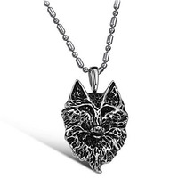 Wolf Pendant Stainless Steel Necklace