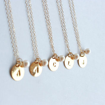 Wedding Jewelry - 5 Necklaces - Personalize gold initial necklace, disc charm, freshwater pearl, gold filled chain - bridal jewelry gift
