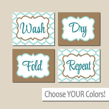 LAUNDRY Wall Art, CANVAS or Prints Aqua Brown, Wash Dry Fold Repeat, Laundry Room RULES, Choose Colors, Set of 4 Quatrefoil Home Decor