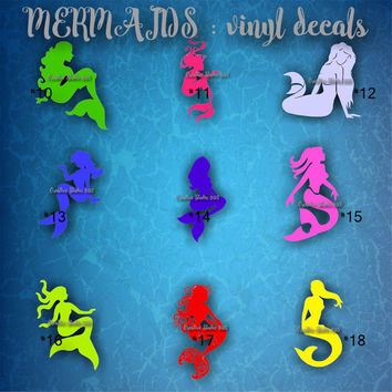 MERMAID vinyl decals - 10-18 - personalized vinyl sticker - car window sticker - wall sticker - mermaid sticker - ocean life - underwater