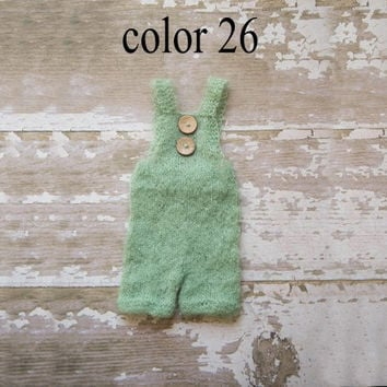 Newborn pants Overalls Ready To Ship, summer style Photography Prop, Knit Mohair Pants -color 26 Green