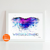 Game Of Thrones watercolor illustration art print, Game Of Thrones poster, home decor, wall art, got print Winter is Coming Got crow