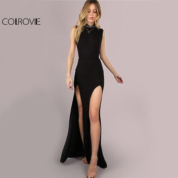 COLROVIE Black Mesh Back Maxi Party Dress 2018 Sexy Double Slit Club Women Bodycon Summer Dresses Girl High Neck Slim Long Dress