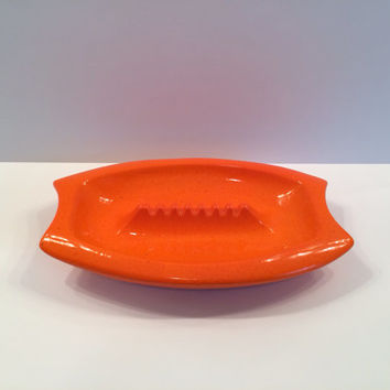 Handmade Ceramic Orange Ashtray, Atomic, Mad Men, retro