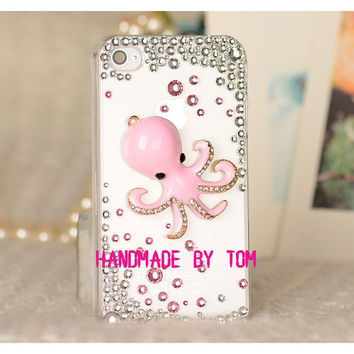 3D bling bling octopus iphone case pure pink iphone 5 by hicase