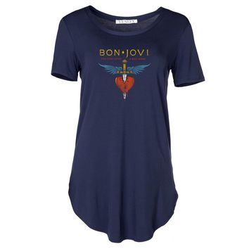 Vinyl Icons Bon Jovi You Give Love a Bad Name VIBJ-017C Women's Crew Neck Tee