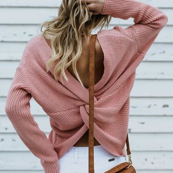 Pink Cross Back V-neck Long Sleeve Pullover Sweater