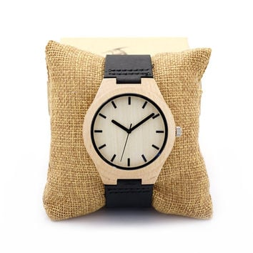 BOBO BIRD F21 Unique Watches Mens Bamboo Wooden Watch Quartz Watches Clock with Leather Strap in Gift Box Relojes Hombre 2016