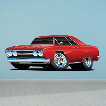 Chevelle Muscle Car Cartoon 4 Red Coupe Wall Decal