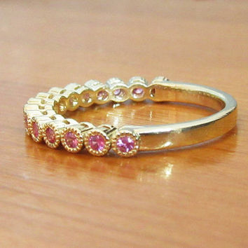 Anniversary Gift, Pink Sapphire Ring,Eternity Ring, Eternity Band, Solid 14K Yellow Gold, 15 stones, Natural Pink Sapphire, Birthstone