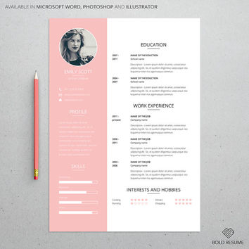 Professional Creative Resume Template for Microsoft Word, Photoshop, Illustrator, Adjustable colors, Mac or PC, A4, Instant Download, CV