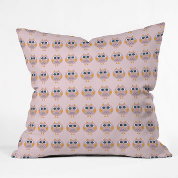 Vy La Geo Owl Print Pink Throw Pillow