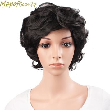 "12"" short curly wigs dark black brown Silver gray 6 styles Old Aged Women Elderly Wigs Synthetic hair Heat Resistant MapofBeauty"