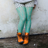 Mint Lace Leggings Handmade Spring Tights Also by karmologyclinic